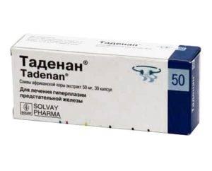 Препараты бывают растительные на основе экстракта карликовой вееролистной пальмы или коры африканской сливы, такие как Таденан